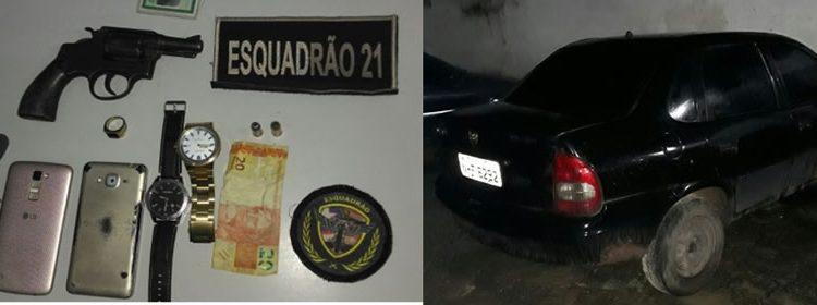 21º BPM APREENDE ARMA DE FOGO E RECUPERA VEÍCULO ROUBADO NA BR-135