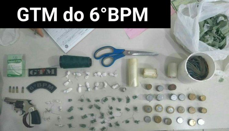 6º BPM PRENDE MULHER E APREENDE ADOLESCENTE COM DROGAS E ARMA DE FOGO NA SANTA EFIGÊNIA