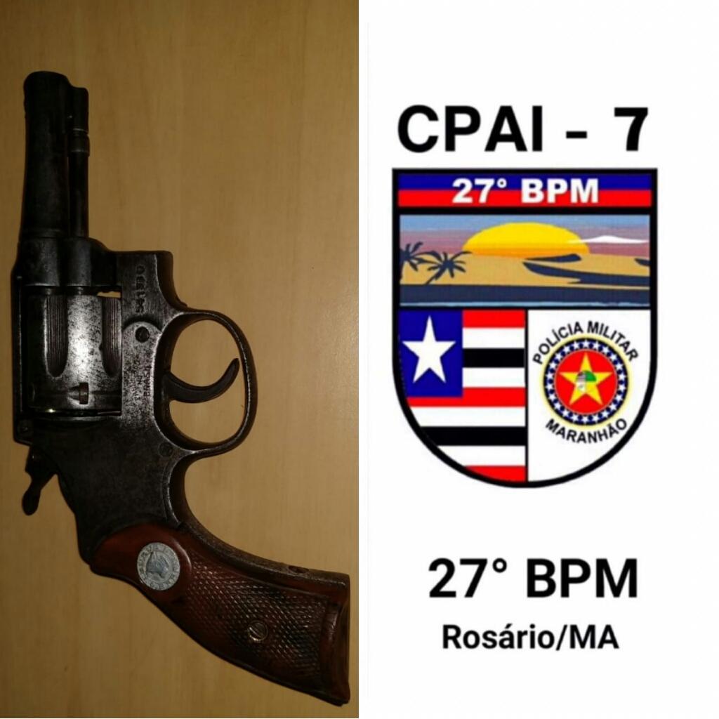 Policiais militares do 27º BPM apreendem arma de fogo em Santa Rita-MA