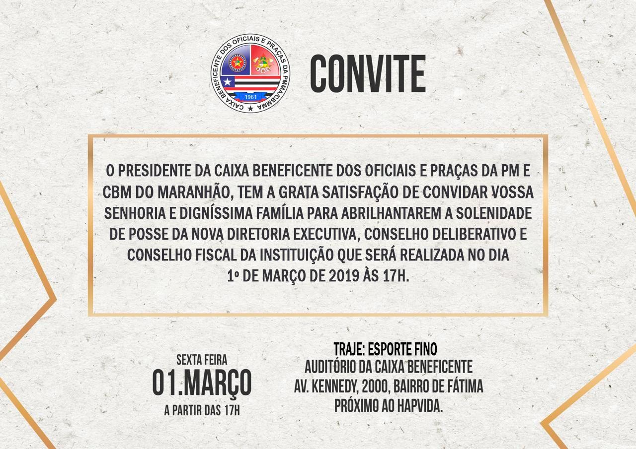 Convite de posse da Caixa Beneficente triênio 2019-2022