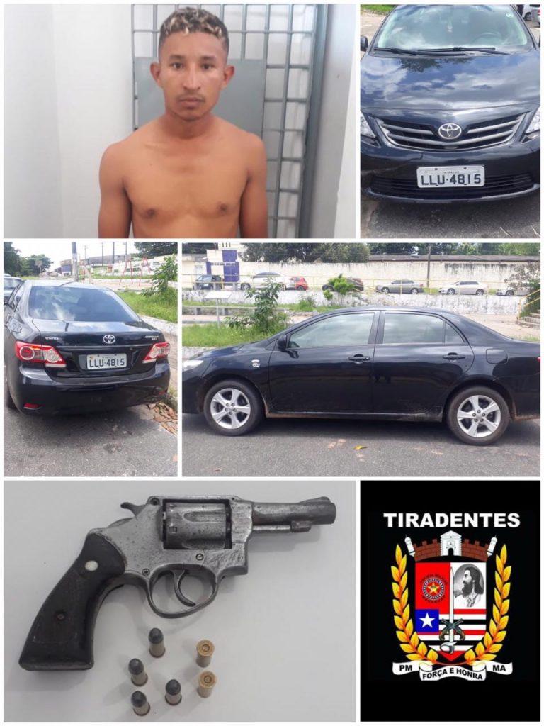 PM's do Batalhão Tiradentes prendem assaltante com arma de fogo e recuperam veículo roubado