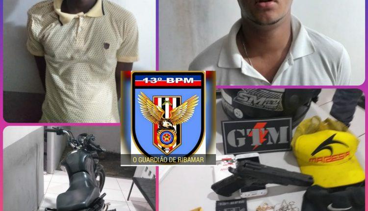 GTM do 13º BPM prende dupla com simulacro de arma de fogo em Ribamar