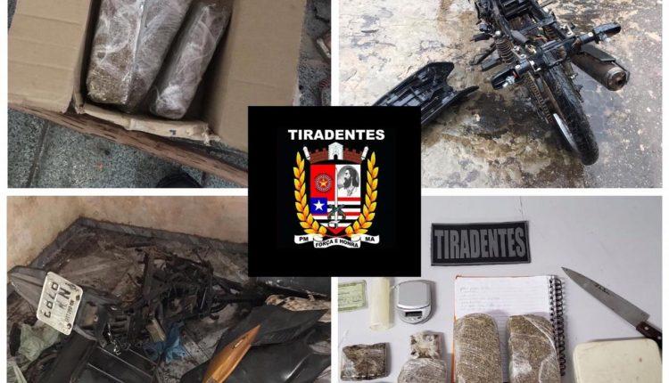 POLICIAIS DO BATALHÃO TIRADENTES DESARTICULAM DESMANCHE DE MOTO E APREENDEM DROGAS