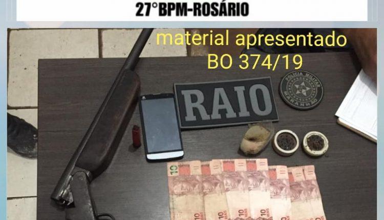 POLICIAIS DO 27ºBPM EM ROSÁRIO CONDUZEM INDIVÍDUOS POR TRÁFICO DE DROGAS E PORTE ILEGAL DE ARMA DE FOGO