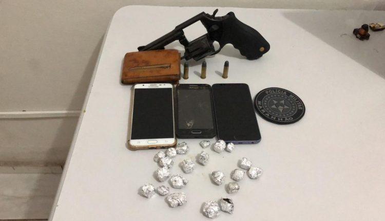 27º BPM apreende arma de fogo e drogas em Humberto de Campos