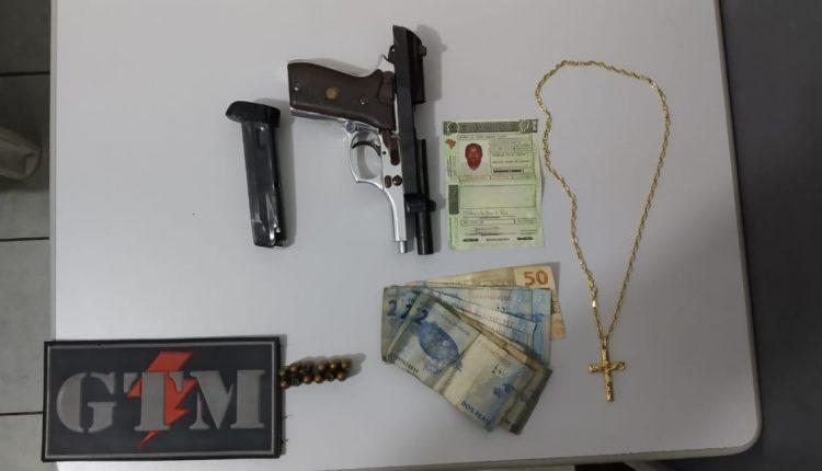 GTM do 9º BPM apreende arma de fogo no bairro da Liberdade