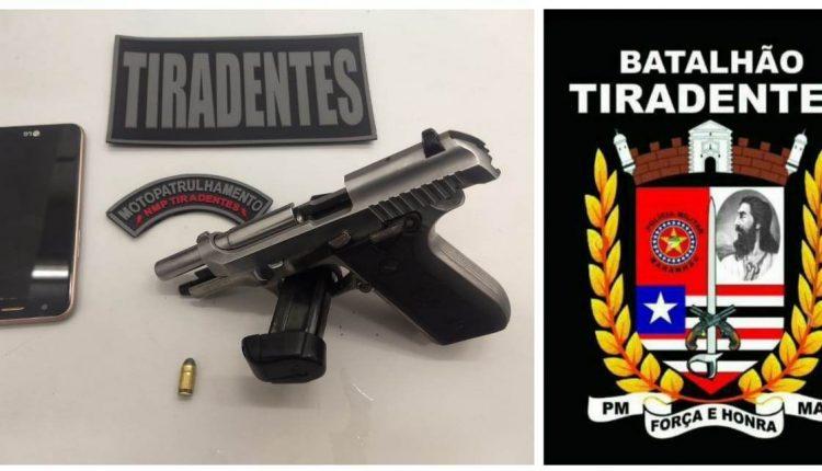 Policiais militares do Batalhão Tiradentes apreendem arma de fogo na Camboa