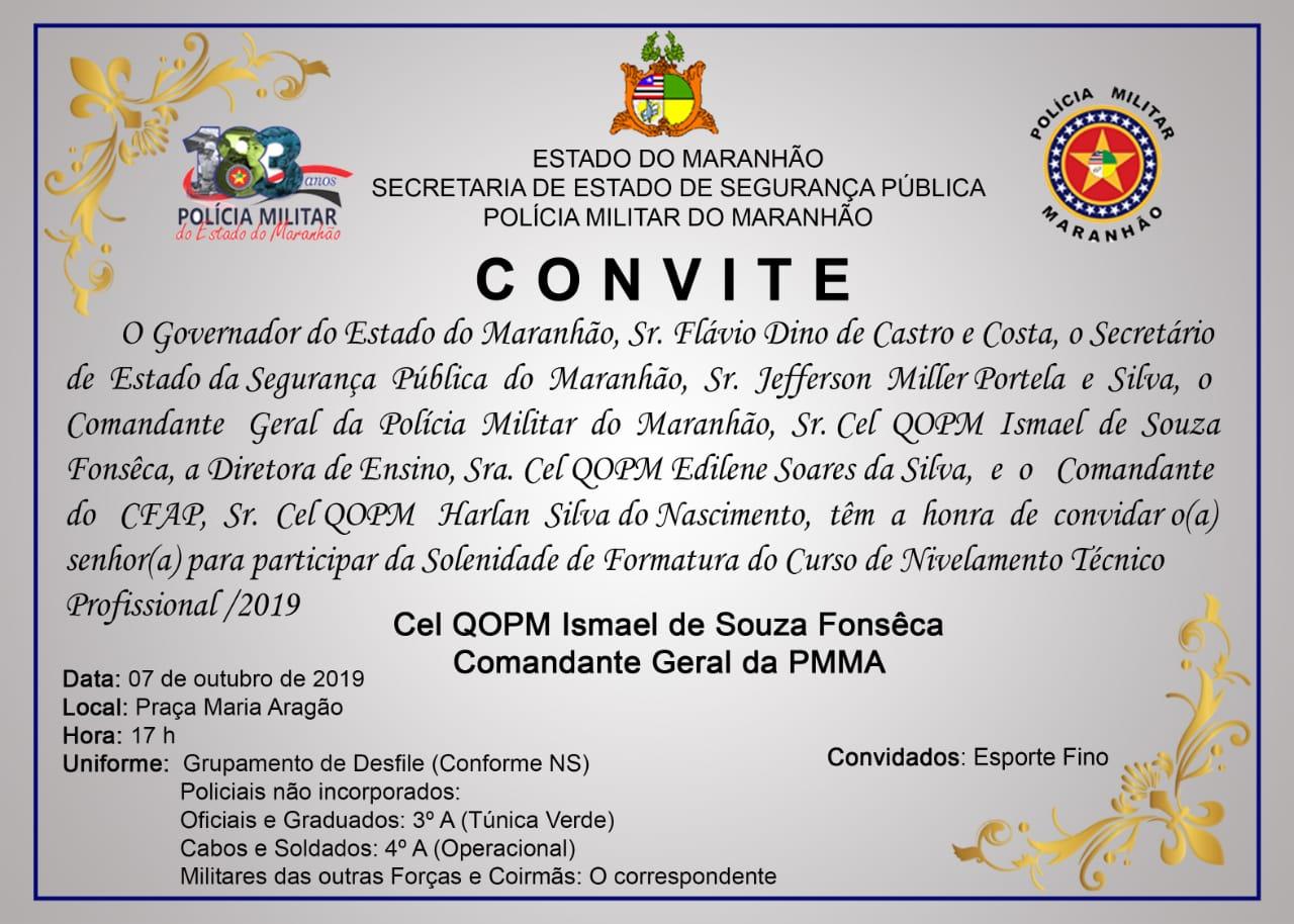 CONVITE: FORMATURA DO CURSO DE FORMAÇÃO DE SOLDADOS 2019 – CFSD/2019