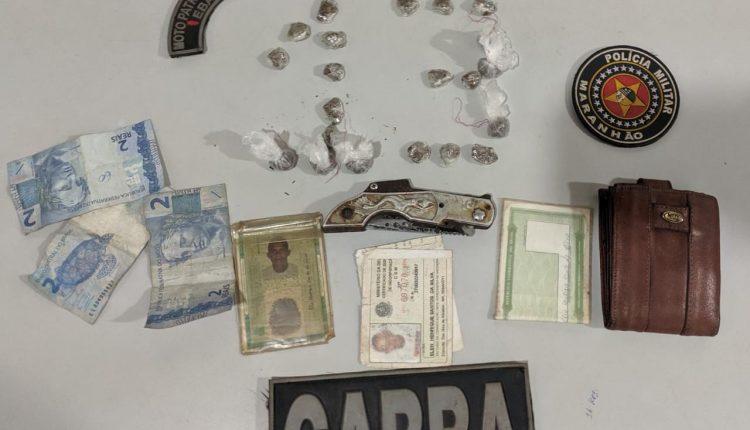 POLÍCIA MILITAR PRENDE INDIVÍDUO ACUSADO DE TRÁFICO DE DROGAS em PANAQUATIRA -SÃO JOSÉ DE RIBAMAR