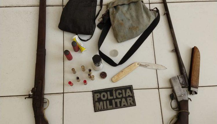 Policia militar apreende armas de fogo e recupera veiculo roubado em Caxias MA