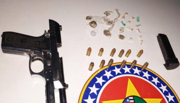 Dois homens são presos por porte ilegal de arma de fogo e tráfico de drogas no Bairro Jardim Tropical