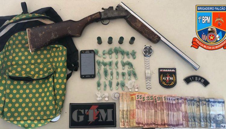 Polícia militar prende suspeito por tráfico de drogas e porte ilegal de arma de fogo no bairro gapara