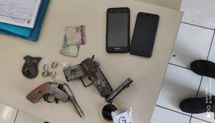 Polícia Militar prende cinco suspeitos por porte ilegal de arma de fogo e tráfico de drogas no interior