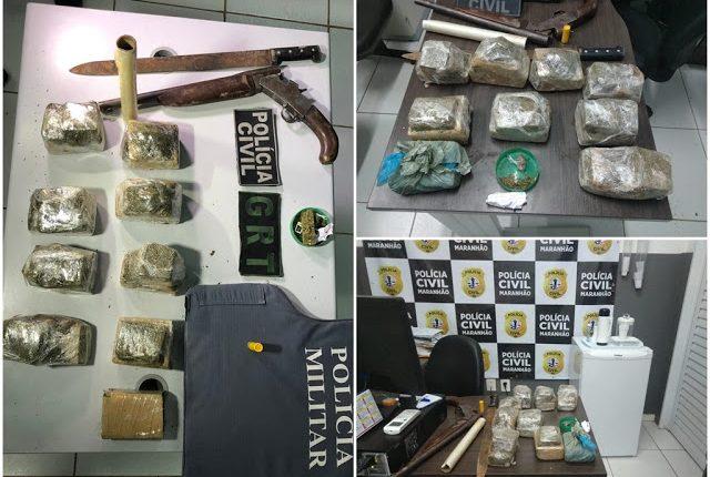 Operação conjunta das Polícias cumprem mandado de prisão e apreendem drogas em Bacabal