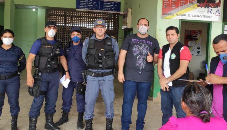 Polícia Militar do Maranhão, Guarda Municipal e Vigilância Sanitária fiscalizam a Rodoviária de Barra do Corda-MA