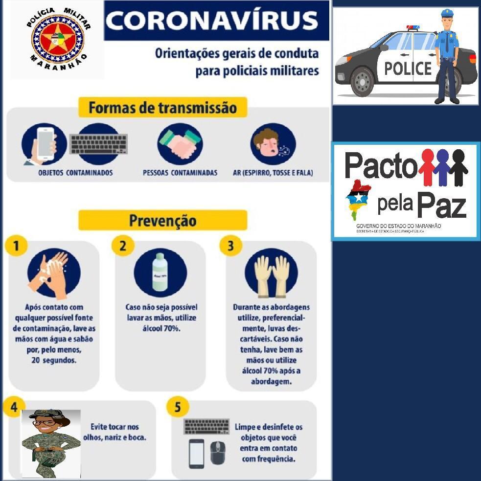 Orientações gerais de conduta aos policiais militares contra o Coronavírus