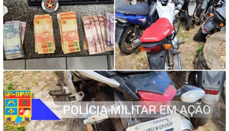 POLÍCIA MILITAR APREENDE DROGAS, DINHEIRO E MOTOCICLETAS ROUBADAS