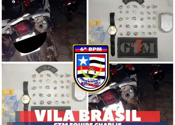POLÍCIA MILITAR PRENDE HOMEM POR TRÁFICO DE DROGAS NA VILA BRASIL