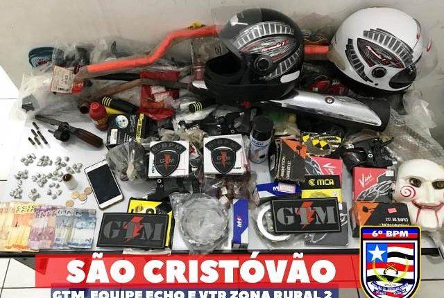 PMMA prende quadrilha comercializando peças de motos furtadas de lojas do São Cristovão