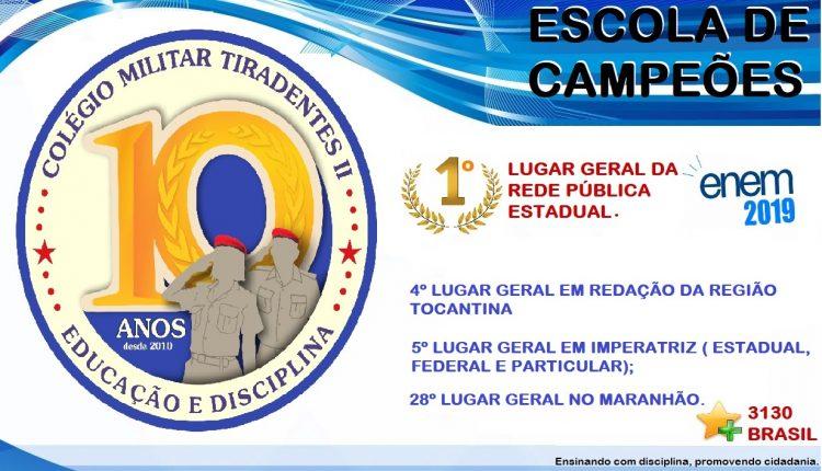 Colégio Militar Tiradentes II é 1º lugar entre as escolas públicas do Maranhão