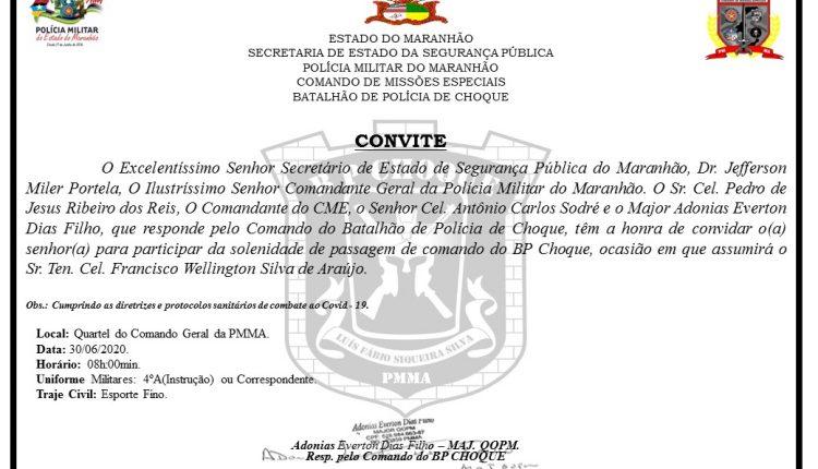 CONVITE DA PASSAGEM DE COMANDO DO BATALHÃO DE CHOQUE