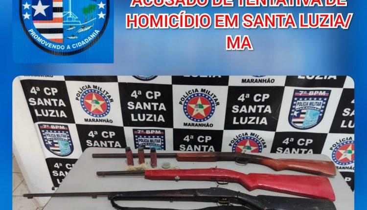 4ª CIA do 7° BPM prende acusado de tentativa de homicídio em Santa Luzia-MA.