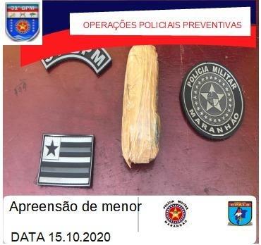 31º BPM apreendeu um menor infrator por tráfico de drogas em Boa Vista do Gurupi