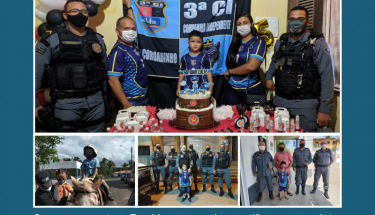POLICIAIS MILITARES DA 3ª CI PARTICIPAM DE ANIVERSÁRIO DE CRIANÇA FÃ DA PMMA